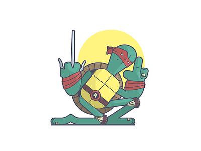 Cool but rude ninja turtle psi teenage mutant ninja turtles raphael tmnt cartoon line art illustration