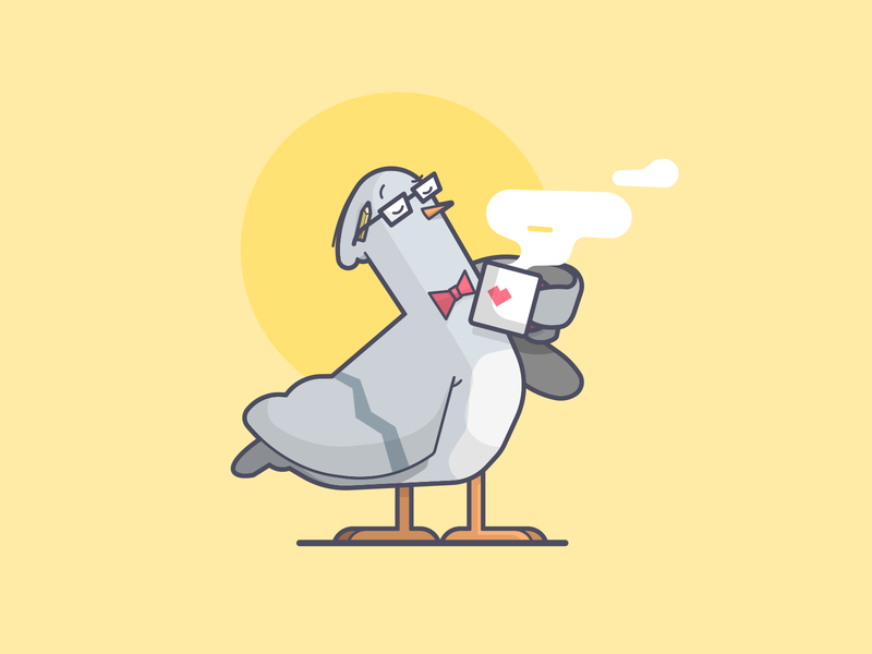 Hip Pigeon hipster bird pigeon coffee cartoon line art illustration