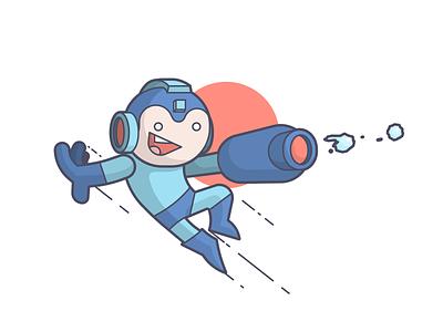 Mega Mega Mega Man pew pew classic nes mega man video games smile cartoon line art illustration