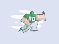 Go Green Birds nfl philadelphia eagles football sports cartoon line art illustration