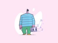 Boomboxin' music boombox colors line art illustration