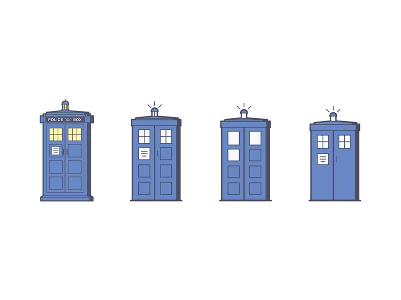 Bigger on the Inside simple nerd tardis doctor who cartoon line art illustration
