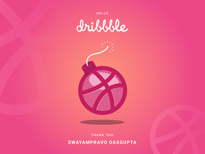 Finally a dribbbler! invite visuals graphics illustration design welcome firstshot