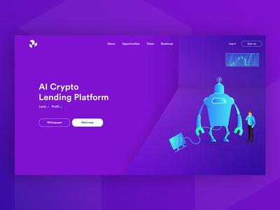 AI Cryptocurrency Lending Platform digitalbro blue purple lending platform landing page blockchain cryptocurrency