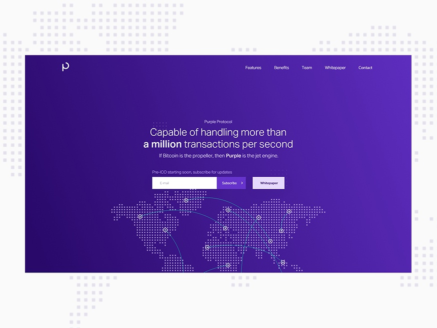 Purple Protocol innovative technology fintech landing page purple blockchain cryptocurrency