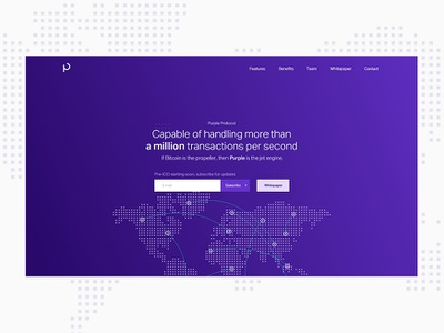 Purple Protocol innovative technology fintech landing page purple blockchain cryptocurrency