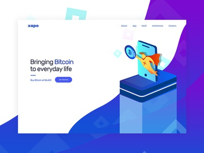XAPO - Re-imagined cryptocurrency exchange fintech blockchain cryptocurrency bitcoin services landing bitcoin xapo
