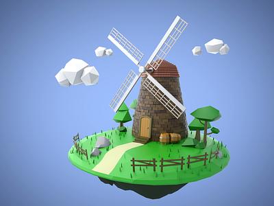 Windmill illustration artwork 3d cinema4d c4d windmill