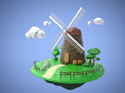 Windmill illustration artwork 3d cinema4d c4d windmill