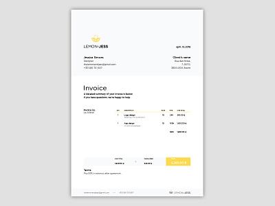 Invoice branding yellow lemon invoice
