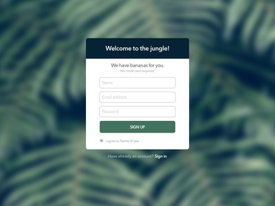 001 Sign Up form
