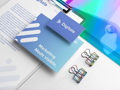 Digitala Marketing Agency stationery icon brand branding vector logo graphic design