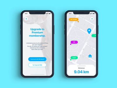 Paywall & Map for a pets app dailyuichallenge brand graphic ui concept design