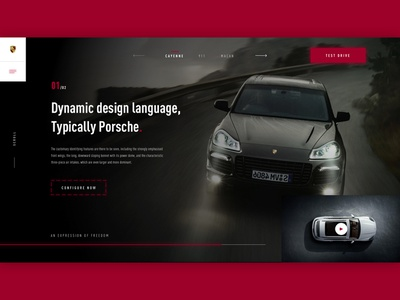 Porsche landing page red and black red font sketch website car branding vector ui design