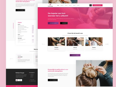 Perfect Coupe hairsalon beauty hair header footer minimal clean buttons redesign webdesign color pink purple website ux ui sketch typography font design