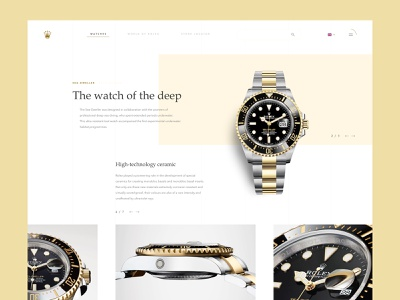 Rolex redesign product page luxury brand rolex watch luxury gold color clean ui sketch font design