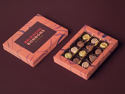Minimal Chocolate Packaging Design illustration chocolates chocolate packaging bonbons chocolate vector color font clean ui sketch design