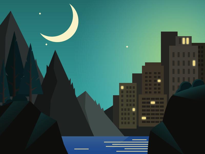 Good Night, Dribbble game moon illustration flat landscape night