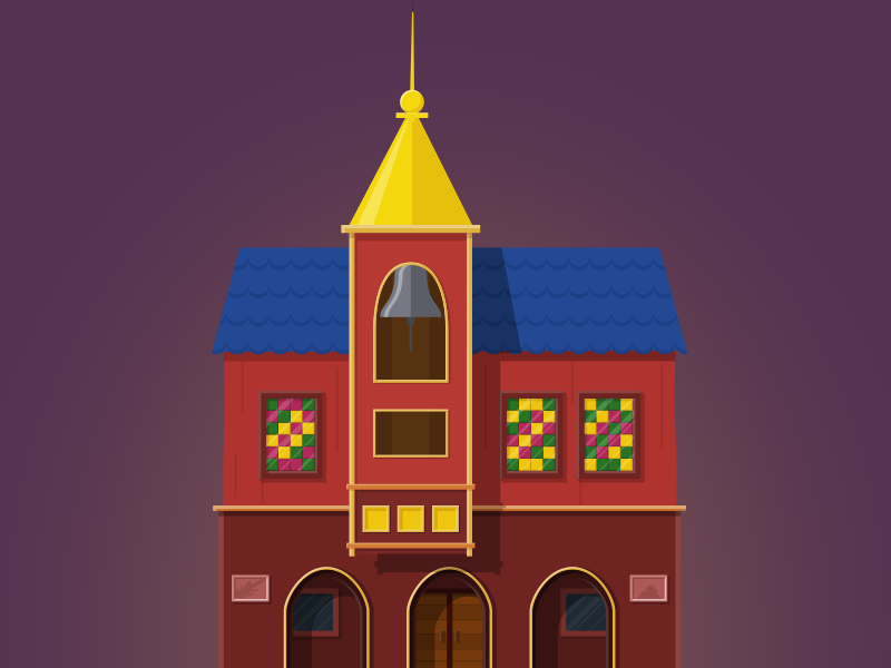 Townhall: Kingdom Clicker townhall vector town icon city 2d minimalism building game illustration flat