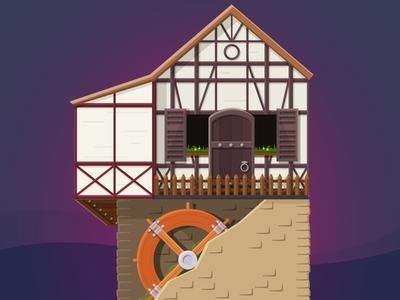 Watermill: Kingdom Clicker watermill vector town icon city 2d minimalism building game illustration flat