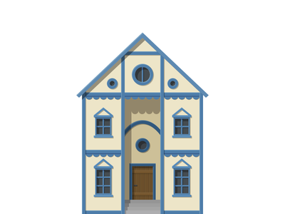Art Gallery middle ages building flat illustration game