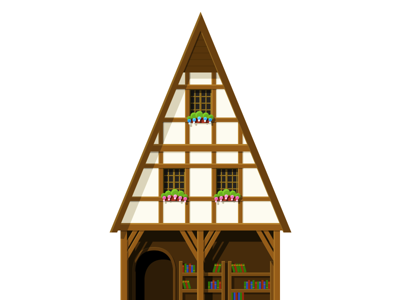 Library middle age library building illustration flat