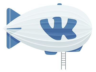 Blimp dirigible airship illustration flat blimp