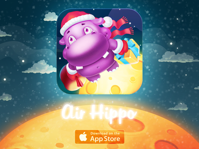 Mobile Game Icon — Air Hippo mobile iphone ipad ios game icon illustration christmas new year
