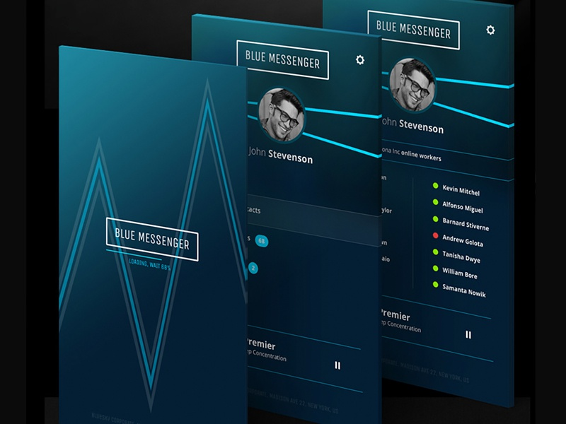 Blue Messenger | Adobe Systems Canada communicator minimal elegant design product mobile app interface ui