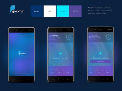 Groomsh Bot - Storm Radar storm radar alert messenger facebook mobile colors weather bot app design ui