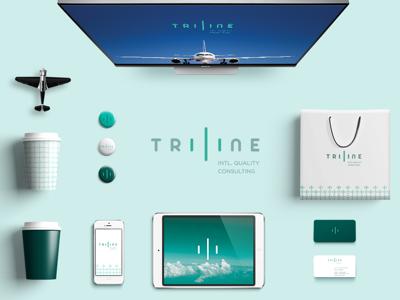 Triline Brand dribbble axis graphic design line blue logo simetría plane brand