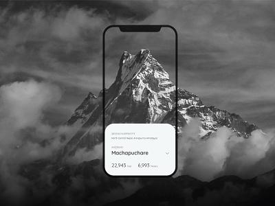 Machapuchare, Annapurna Himalayas nepali nepal app design minimalism mountain uiux