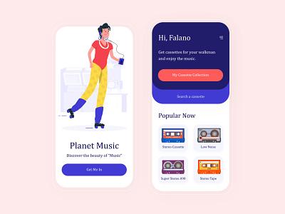 walkman cassette bright colors mobile app design ui