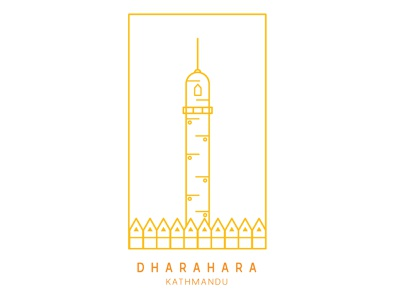 Dharahara, Kathmandu, Nepal outline logo icon
