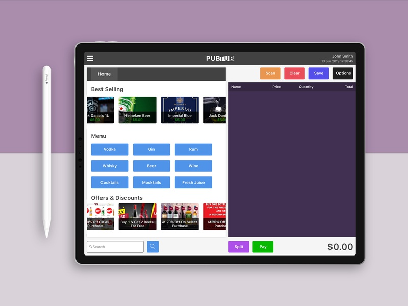 PubTub Bar POS application by Abishek on Dribbble