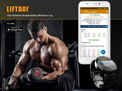 LIFTDAY app - flyer for Instagram mobile app athlet gym bodybuilding weight lifting liftday