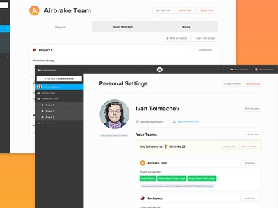 Airbrake Bug Tracker Settings Area settings lists setup team user personal preferences adding managing management project