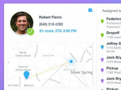 Driver at a glance geo location profile task list map modal