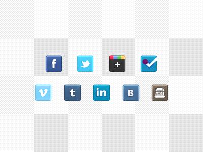 Freebie: Tiny Social Icons Enhanced icons ui freebie free social media social twitter facebook vkontakte tumblr linkedin instagram google plus google foursquare pixel