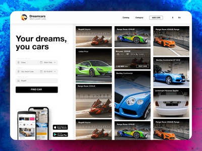 Dreamcars App title product with catalog&search