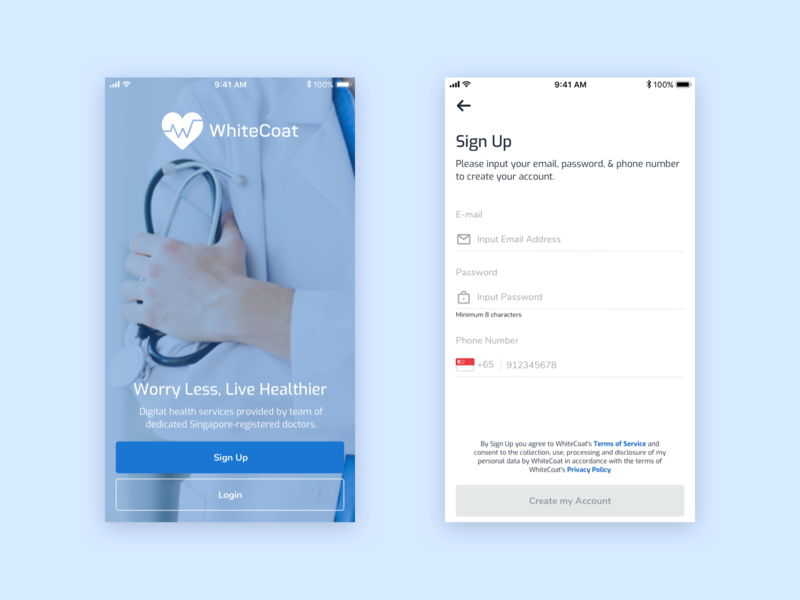 WhiteCoat Sign Up mobile clean blue healthcare sign up