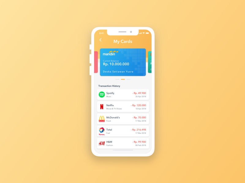 Cards Management banking app banking bank transaction wallet cards card iphone x