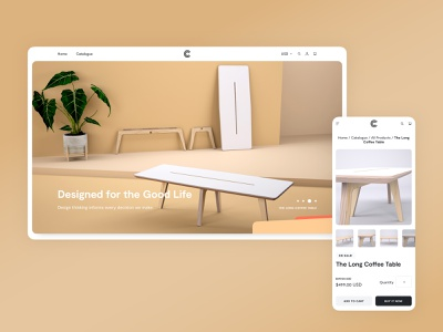 Caramba — Ecommerce Furniture Page Design plywood indoor table minimal furniture website eshop clean store furniture store shop ecommerce web website shopify furniture ui web design z1 market place design