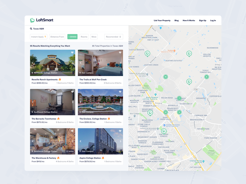 LoftSmart - Search Page units loftsmart university material design marketing ui design searcher search rating apply now location map google maps detail page detail market place property page properties product card card