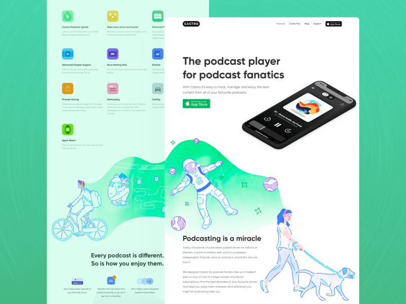 Castro - Home illustration uxdesign ui ux dreams dream web ios illustrations icons dog astronaut planets podcasting podcasts podcast landing design web design website