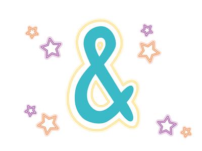 Ampersand ampersand 36daysoftype glyphs type design neon neon type vector digital illustration typography