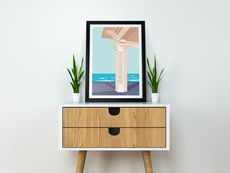 Casino surf architecture digital art illustration minimalist background