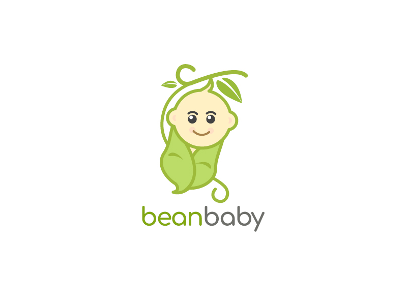 BeanBaby green logo baby logo nature logo bean logo cute logo adobe illustrator logo