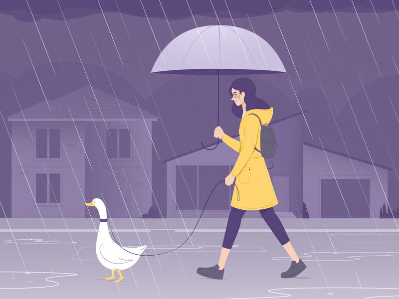 Pet Goose fall night pet umbrella city rain girl illustration art vector
