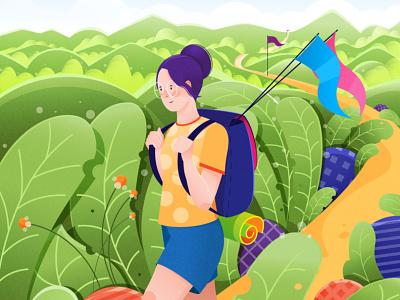 Travel. marker plant sport road mounties trip design bright girl illustration art vector